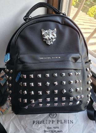 Женский рюкзак жіночий ранець черный Philipp Plein Филипп Плейн