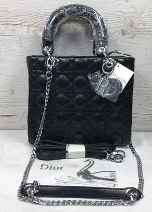 Женская сумка жіноча чорна черная красная червона Dior Lady Диор