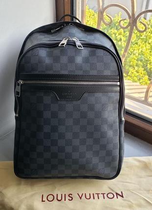 Женский мужской кожаний рюкзак ранець Louis Vuitton Луи Виттон