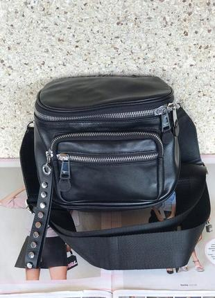 Женская кожаная сумка черная жіноча чорна шкіряна через плече ...