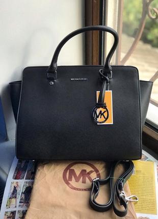 Женская сумка Michael Kors Selma Майкл Корс черная чорна жіноча
