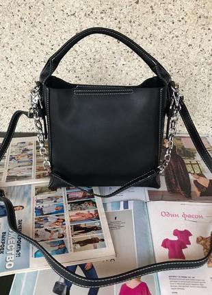 Женская кожаная сумка черная красная жіноча шкіряна чорна черв...