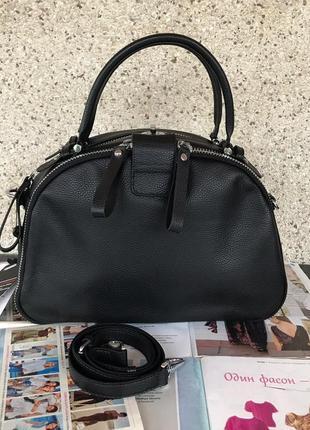 Женская кожаная сумка саквояж  жіноча шкіряна чорна чёрная
