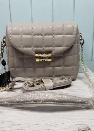 Женская сумка Chanel Шанель жіноча бежева бежевая