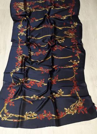 Платок палантин шелковый брендовый синий