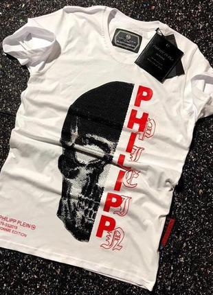 Футболка мужская с принтом philipp plein белая / футболка...