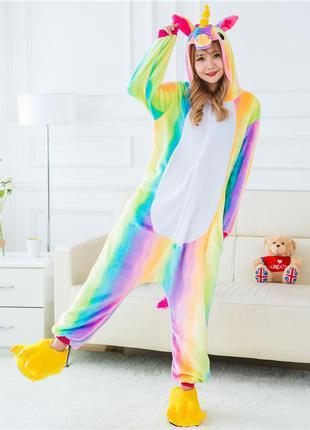 Домашняя теплая одежда кенгурушка единорог пижама женская или ...