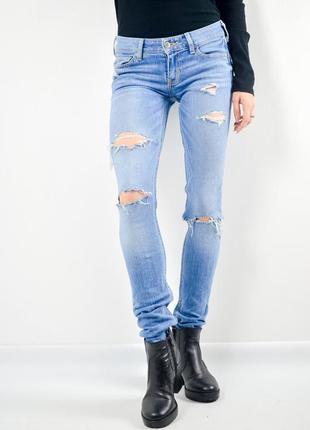 Hollister зауженные джинсы с рваной отделкой, рваные скинни, с...