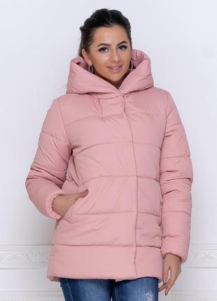 Зимняя куртка с капюшоном пудра