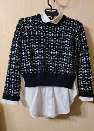 Стильный свитер с рубашкой