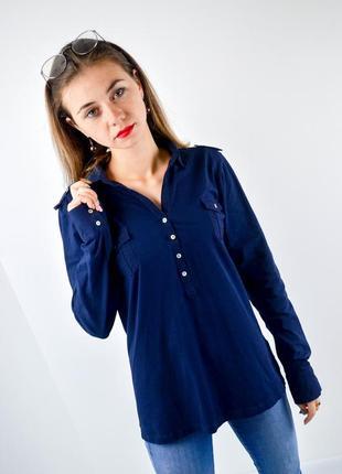 Massimo dutti синяя рубашка из эластичного хлопка с длинным ру...
