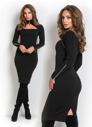 Платье длины миди черное эша
