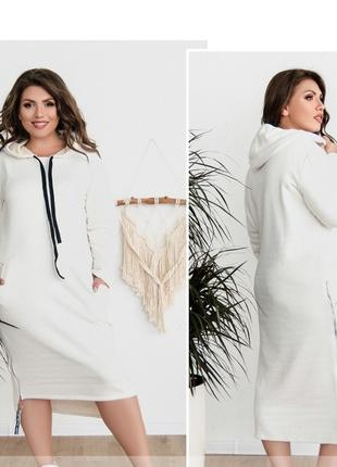 Теплое уютное осеннее платье батал