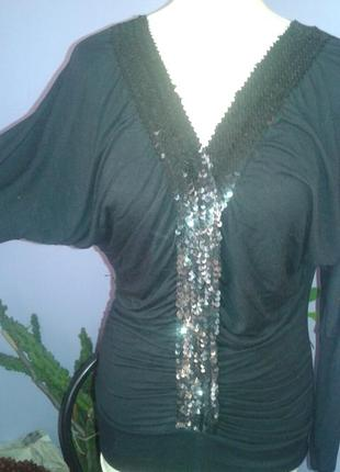 Шикарная нарядная блуза с пайетками