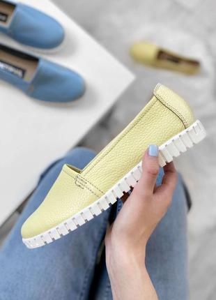 Кожаные женские комфортные желтые туфли балетки эспадрильи нат...