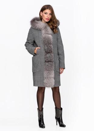 Пальто зимнее клетка с мехом серое код: 5090