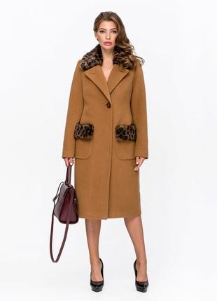 Пальто зимнее с мехом леопард горчица код: 5095