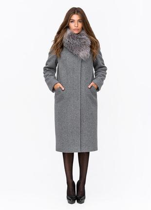 Зимнее пальто с мехом классика серое код: 5086