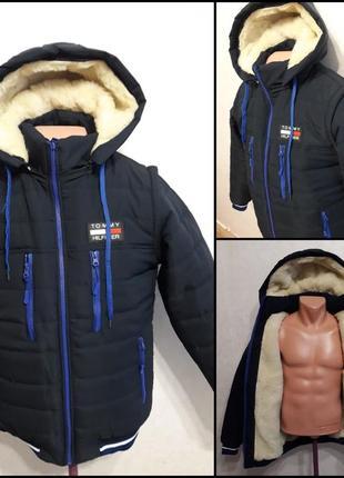 """Стильная зимняя куртка-жилет,модель """"tommy hilfiger"""" трансформ..."""