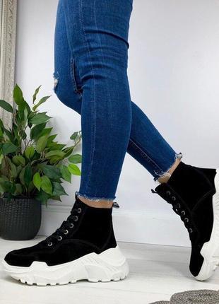Черные зимние женские ботинки