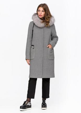 Зимнее пальто с мехом клетка серое код: 5089