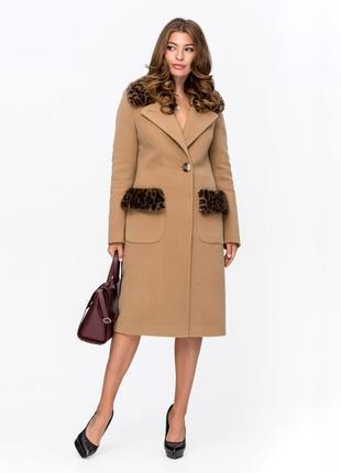 Пальто зимнее с мехом леопард беж код: 5095
