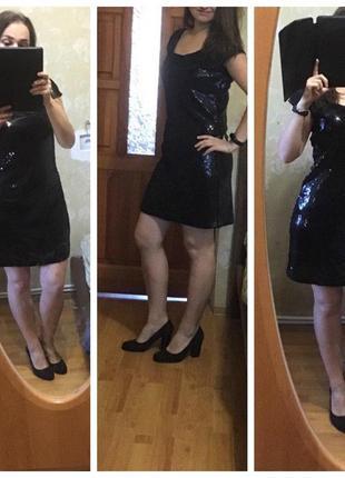 Вечернее платье с пайетками, черное платье 44-46