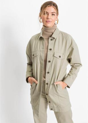 Женская джинсовая куртка-рубашка оверсайз bonprix