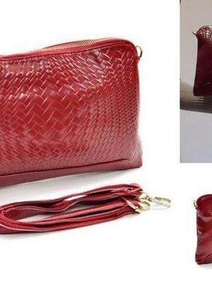 Женский клатч,маленькая красная сумочка,кистевой,плечевой.
