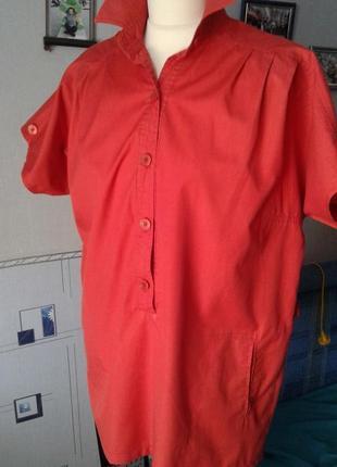 Блуза-рубашка хлопок удлинённая р 46-48-стильно модно ярко ком...