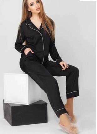 Пижама женская шелковая с кантом рубашка и брюки