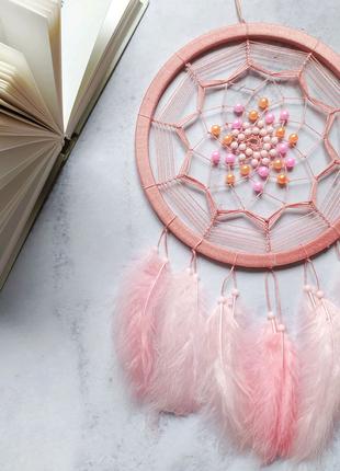 Нежно розовый ловец снов Подарок Декор Амулет Подвеска Аксессуар