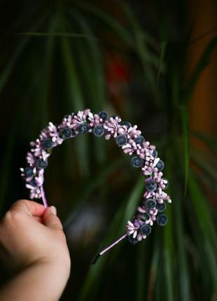 Ободок из цветов обруч повязка на голову ручной ручная работа