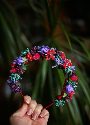 Ободок обруч из цветов