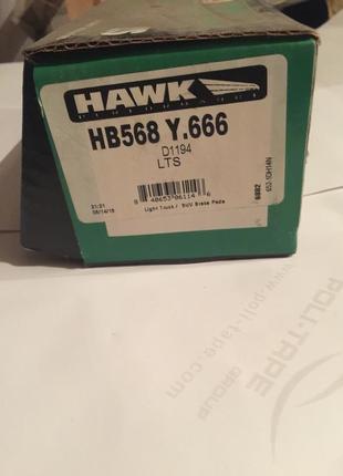Тормозные колодки передние Hawk HB568Y666 Cadillac Escalade