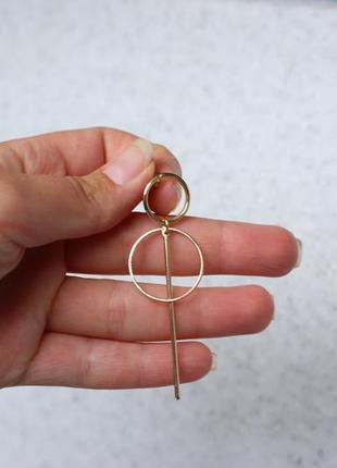Серьги сережки трендовые золотистые кольца гвоздики