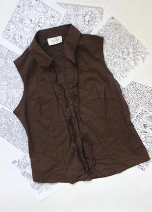Рубашка блуза безрукавка на пуговицах