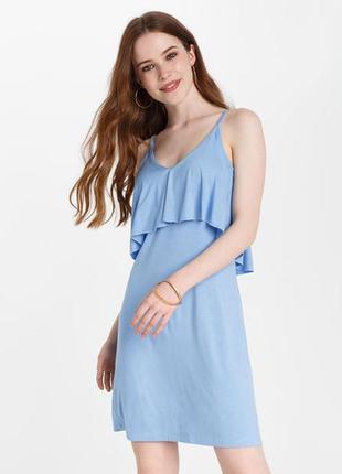Платье шифоновое голубое с воланом