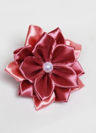 Резинка для волос цветок из ленты