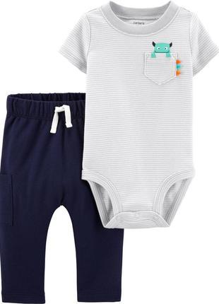 Комплект двойка carters , 18м и 24м бодик и спортивные штаны