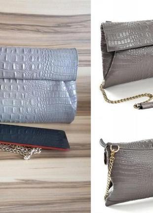 Женский стильный,деловой кожаный клатч-сумка,под рептилию