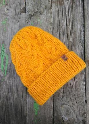 Шапка бини базовая вязаная теплая шапка 100% шерсть мериноса ж...