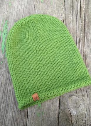 Шапка бини чулок базовая вязаная теплая шапка 100% шерсть мери...