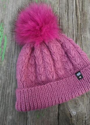 Шапка бини базовая вязаная теплая шапка 100% шерсть мериноса с...