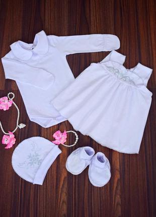 Крестильный комплект набор для крещения платье
