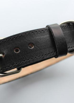 Брутальный ошейник с шипами черный