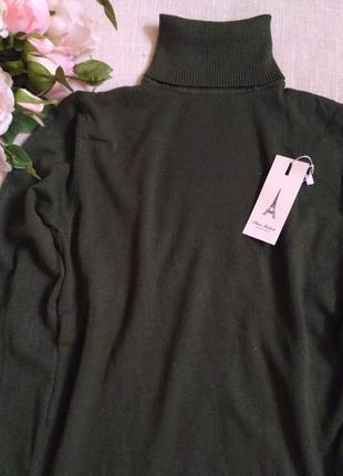 Зеленый гольф женский хаки шерстяной теплый темный удлиненный