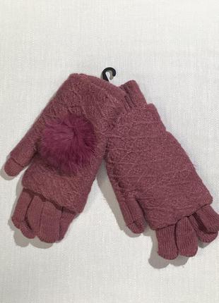 Тёплые вязаные перчатки с мехом