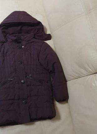 Куртка темносиреневая 122-134, 5-8лет зима-осень