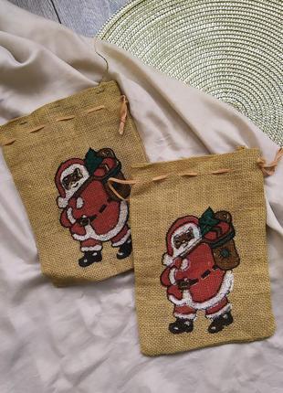 Подарочная упаковка мешок новый год дед мороз для сладостей по...